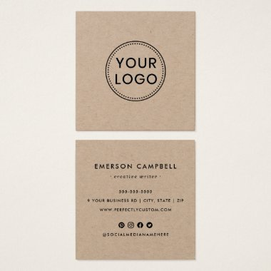 Kraft paper logo social media icons business card