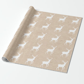Kraft Paper Look and White Deer Stag with Antlers Wrapping Paper