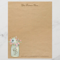 Kraft Paper Look Rustic Mason Jar Modern Floral