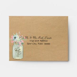 Kraft Paper Look Rustic Mason Jar Modern Floral Envelope