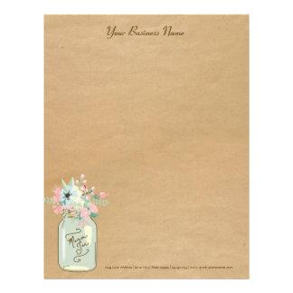 Kraft Paper Look Rustic Mason Jar Modern Floral Letterhead