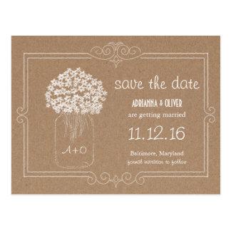 Kraft Paper Mason Jar Flowers Save The Date Postcards