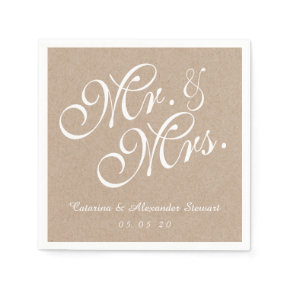 Kraft Paper Mr. and Mrs. Wedding Paper Napkins
