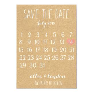 Kraft Paper Save The Date Calendar Card