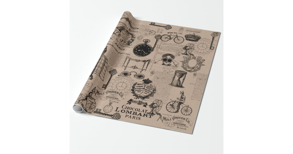 vintage style wrapping paper