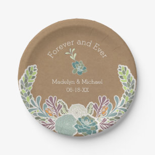 Kraft Paper Succulents Custom Wedding Paper Plates  sc 1 st  Zazzle & Pretty Succulents Plates | Zazzle