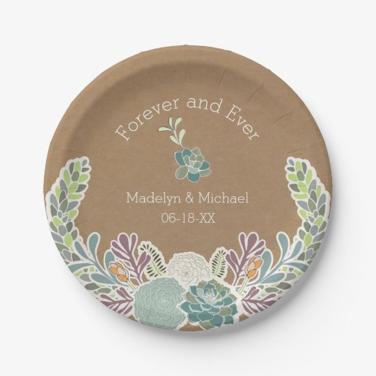 Kraft Paper Succulents Custom Wedding Paper Plates  sc 1 st  Zazzle & Kraft Paper Succulents Custom Wedding Paper Plates | Zazzle.com