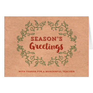 Kraft Paper Vintage Wreath Teacher Christmas Card
