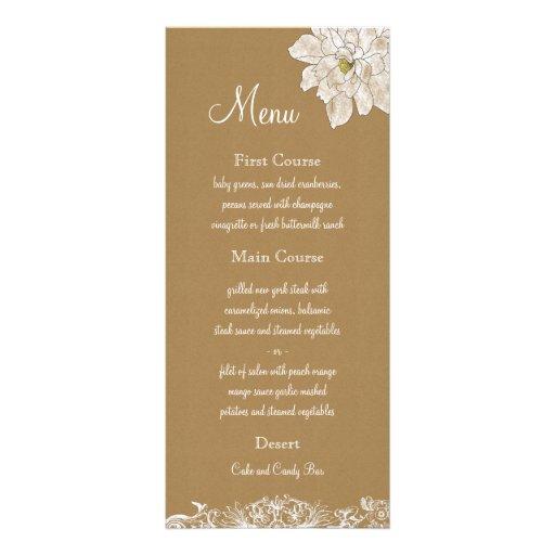 Kraft Paper Wedding : Menu Cards Custom Rack Card