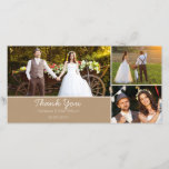 """Kraft Paper Wedding Thank You Photo Card<br><div class=""""desc"""">This kraft paper thank you wedding photo card features a scanned kraft paper background and cream photo dividing lines. I thought about the much loved country rustic style weddings couples are having and chose a background and font that may be in keeping with, and suitable for a rustic country wedding...</div>"""