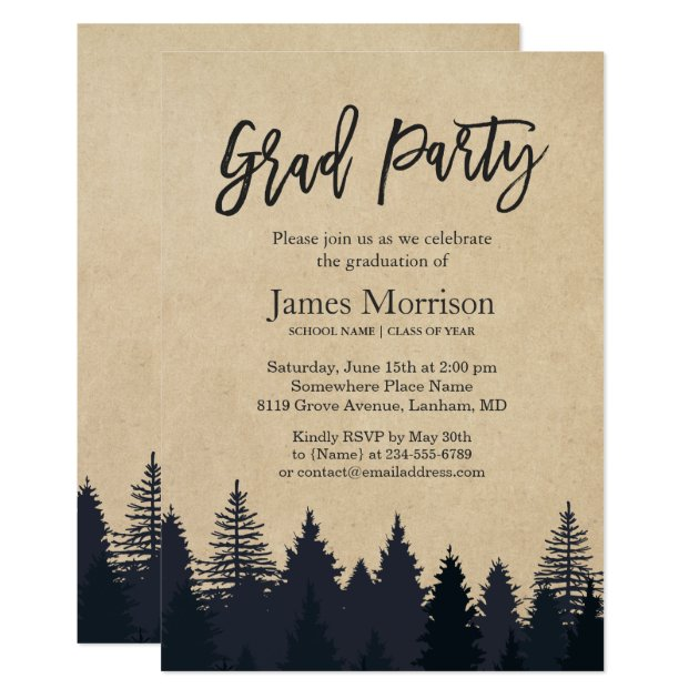 Kraft Pine Tree Forest Graduate Graduation Party Card
