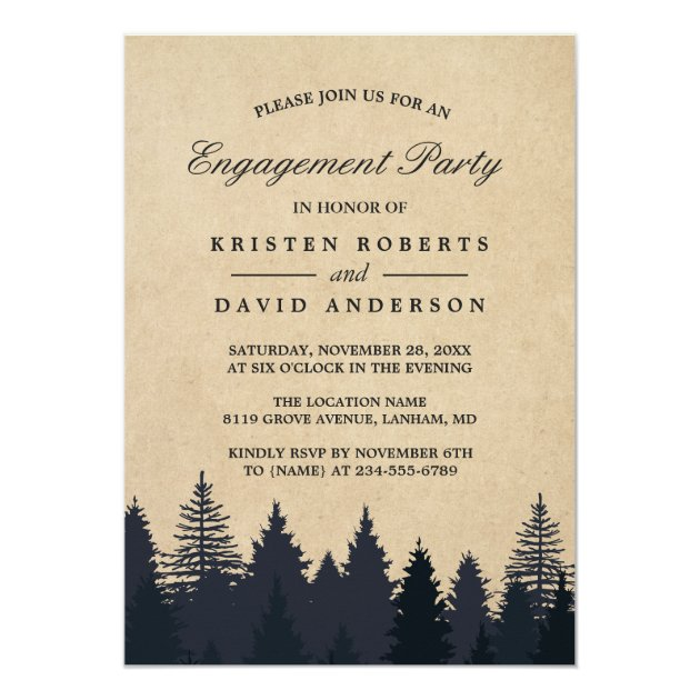 Kraft Pine Tree Forest Wedding Engagement Party Card