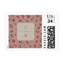 Kraft red Lace rustic country wedding monogram Postage