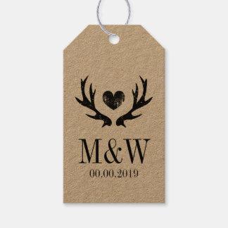 Kraft rustic deer antler wedding favor gift tags