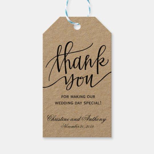 Wedding Thank You Gift Tags: Kraft Rustic Wedding Thank You Favor Tags