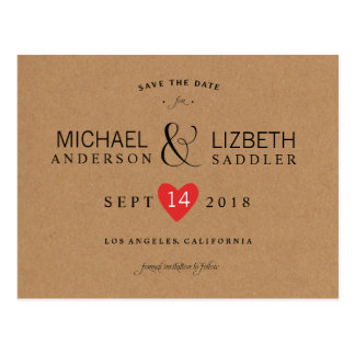 Kraft Save the Date, simple save the date Postcard