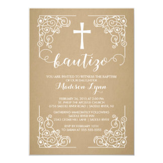Kraft Spanish Baptism Christening Cross Invitation