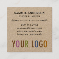 Kraft Square Business Cards with Photo & Logo