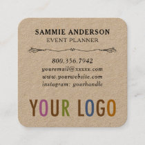 Kraft Square Business Cards with Rounded Corners
