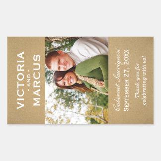 Kraft Wedding Photo Wine Bottle Favor Rectangular Sticker
