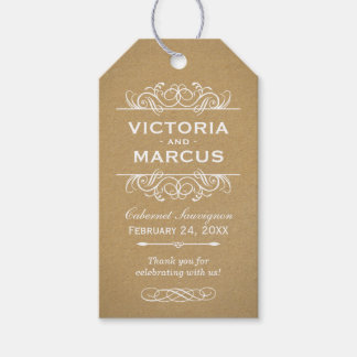 Kraft Wedding Wine Bottle Monogram Favor Tags
