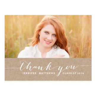 Kraft White Script Graduation Thank You Postcard