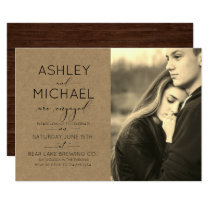 Kraft Wood Typography Sepia Photo Engagement Party Invitation