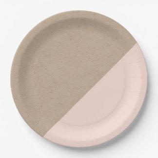 Kraft y el pastel del rosa sumergieron la placa de plato de papel 22,86 cm