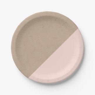 Kraft y el pastel del rosa sumergieron la placa de plato de papel 17,78 cm