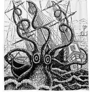 Kraken Attack giant octopus shower curtain
