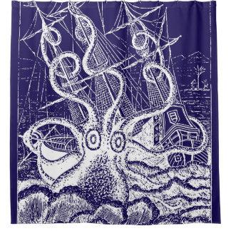 Kraken Attack navy blue shower curtain