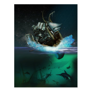 Kraken Attack Postcard