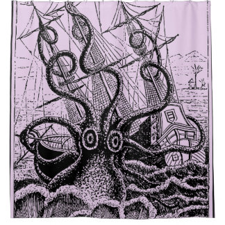 Kraken Attack purple shower curtain
