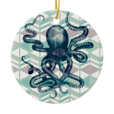 Aztec Themed kraken Aztec vintage Ceramic Ornament