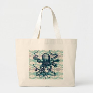 Aztec Themed kraken Aztec vintage Large Tote Bag