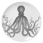 Kraken - Black Giant Octopus / Cthulu Melamine Plate