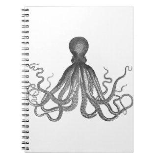 Kraken - Black Giant Octopus / Cthulu Spiral Notebook
