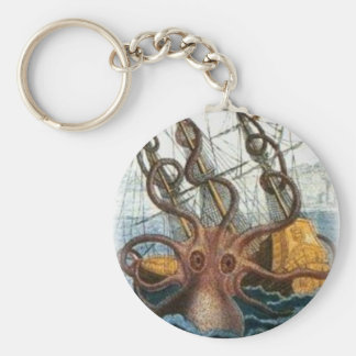 Kraken by Pierre Denys de Montfort, 1801 Basic Round Button Keychain