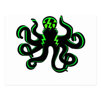 Kraken con los rayos verdes postales