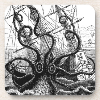 Kraken Eatting a Sailing Ship Drink Coaster