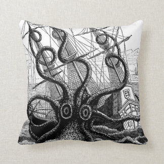 Kraken Eatting a Sailing Ship Throw Pillow