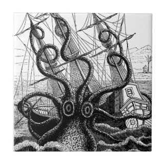 Kraken Eatting un velero Azulejos Cerámicos