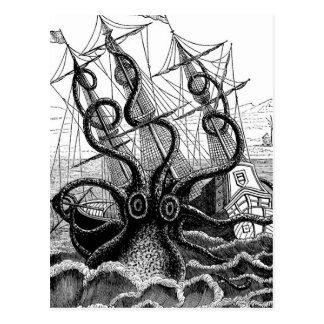 Kraken Eatting un velero Tarjetas Postales
