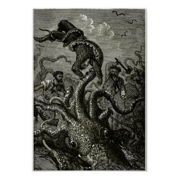 Art Themed Kraken from 20000 Leagues Under the Sea Poster