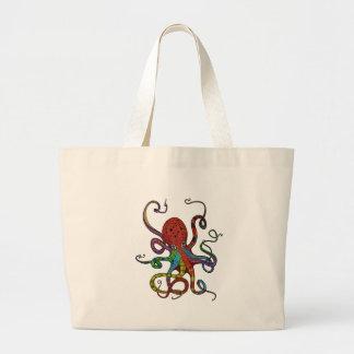 Kraken_h6_rainbow_4 Large Tote Bag
