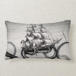Kraken Holding Pirate/Sailing Ship Lumbar Pillow