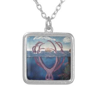 kraken.jpg square pendant necklace
