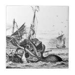 Kraken/Octopus Eatting A Pirate Ship, Black/White Ceramic Tile