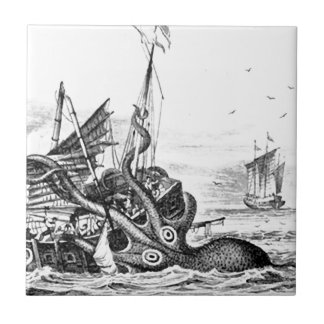 Kraken/Octopus Eatting A Pirate Ship, Black/White Ceramic Tile