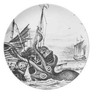 Kraken/Octopus Eatting A Pirate Ship, Black/White Dinner Plate